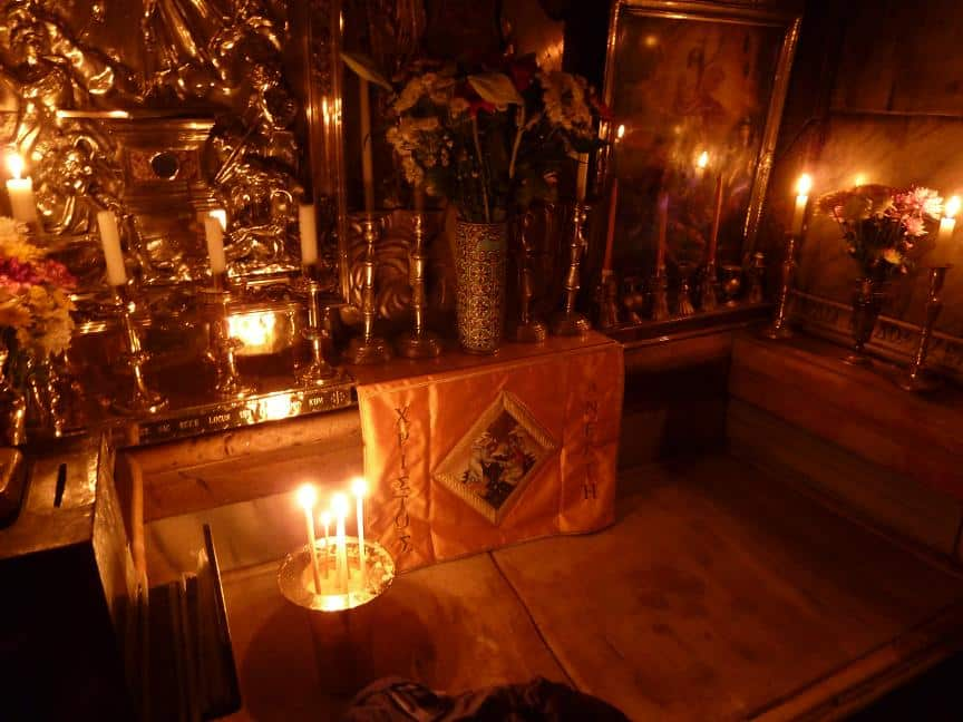 inside Jesus' grave.