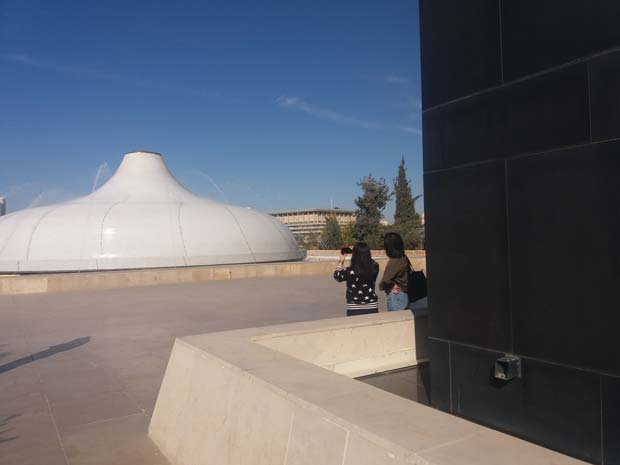 The Shrine of the Book in the Israel Museum. You can see the Knesset building in the background.