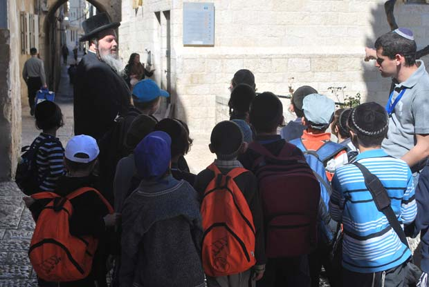 Ultra-Orthodox children on a tour of the Jewish Quarter in the Old City.