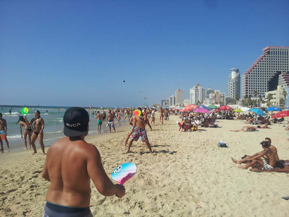 Matkot on the Beach. Tel Aviv